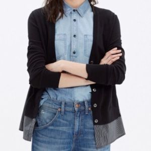Madewell Black Shirting Sweater Cardigan